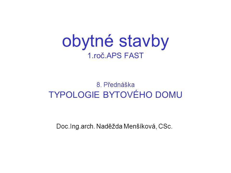 8.Typologie bytového domu 8.1. Typologie základních stavebních typů 8.2.