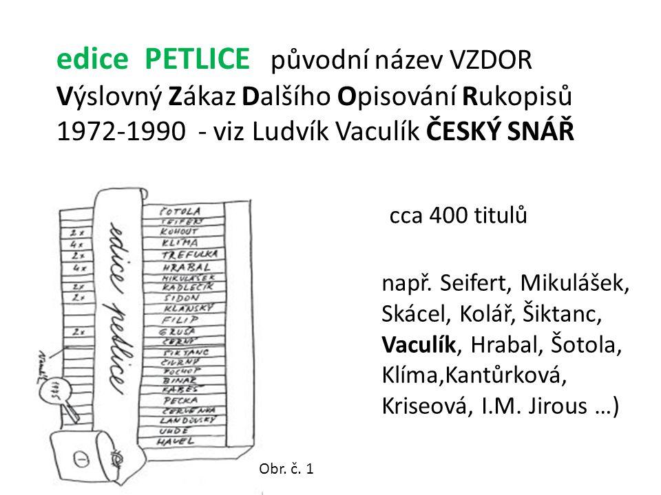 edice PETLICE původní název VZDOR Výslovný Zákaz Dalšího Opisování Rukopisů 1972-1990 - viz Ludvík Vaculík ČESKÝ SNÁŘ např.