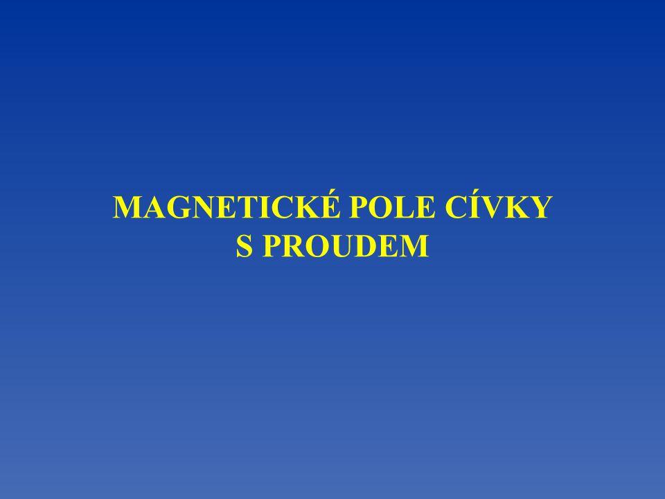 Magnetické pole v okolí cívky s proudem Magnetické pole je znázorněno magnetickými indukč- ními čarami.