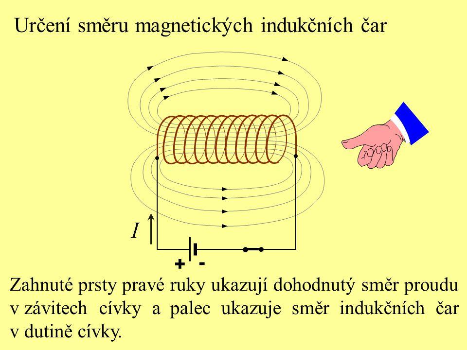 + - Určení směru magnetických indukčních čar Zahnuté prsty pravé ruky ukazují dohodnutý směr proudu v závitech cívky a palec ukazuje směr indukčních čar v dutině cívky.