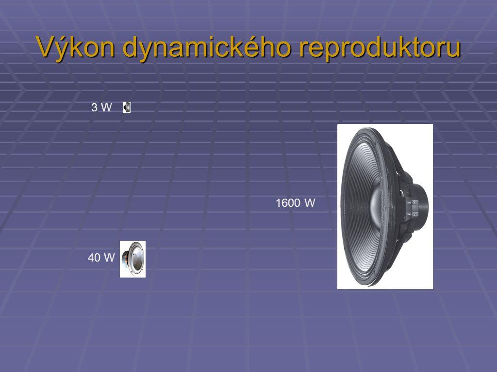 Výkon dynamického reproduktoru 3 W 40 W 1600 W