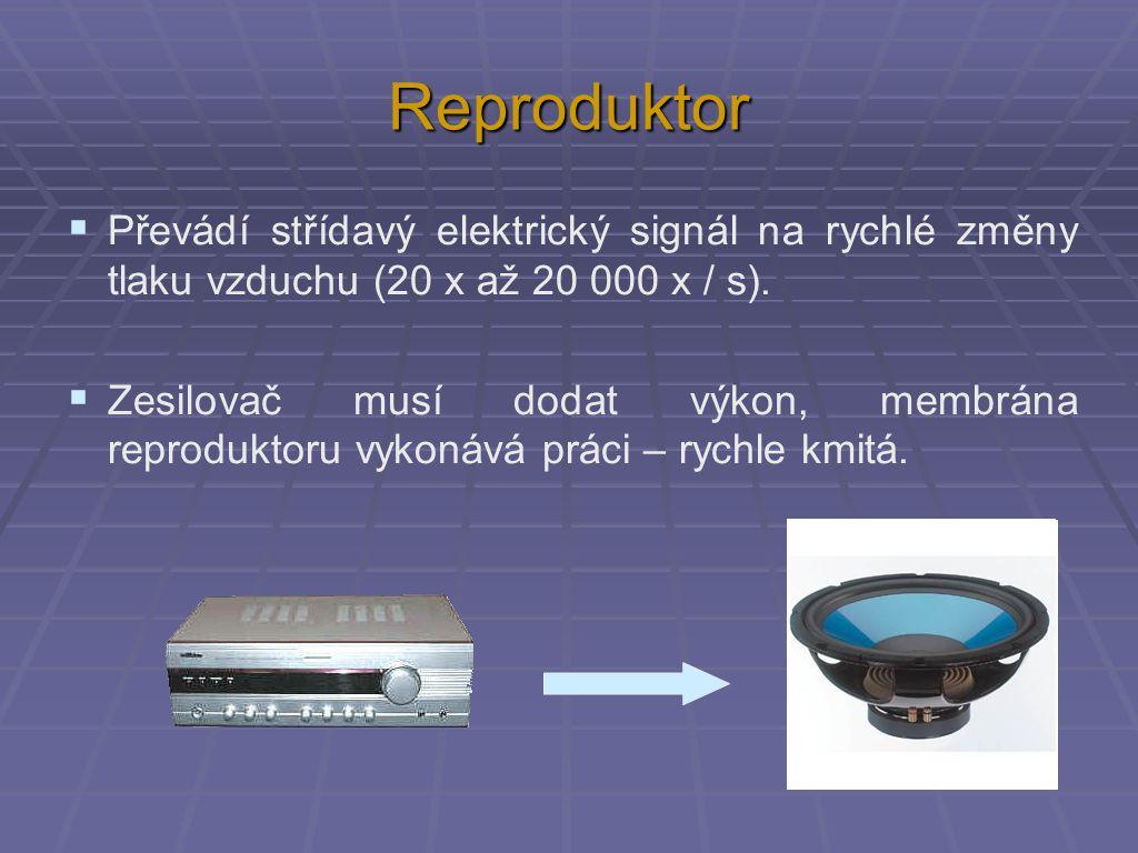 Reproduktor  Převádí střídavý elektrický signál na rychlé změny tlaku vzduchu (20 x až 20 000 x / s).