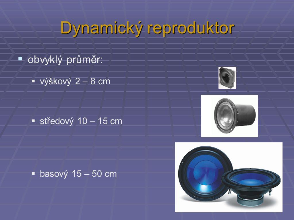 Dynamický reproduktor  obvyklý průměr:  výškový 2 – 8 cm  středový 10 – 15 cm  basový 15 – 50 cm
