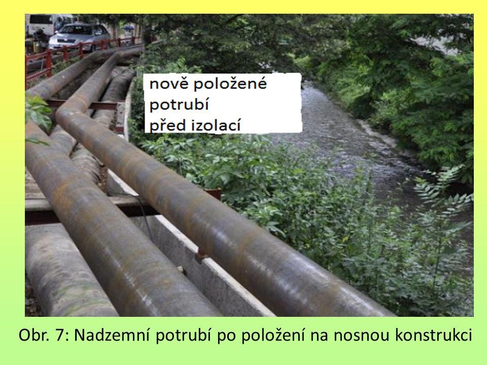 Obr. 7: Nadzemní potrubí po položení na nosnou konstrukci