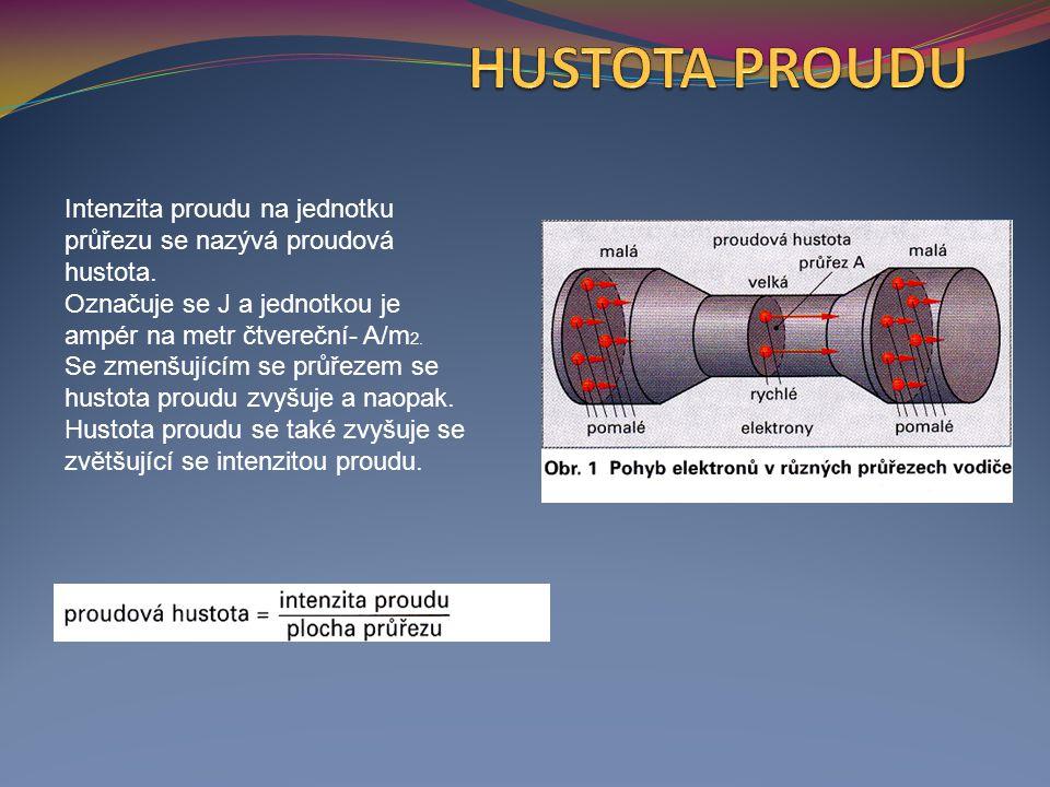 Intenzita proudu na jednotku průřezu se nazývá proudová hustota.