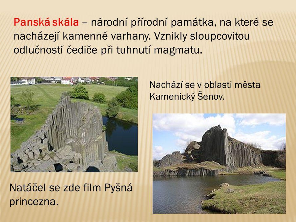 Panská skála – národní přírodní památka, na které se nacházejí kamenné varhany. Vznikly sloupcovitou odlučností čediče při tuhnutí magmatu. Natáčel se