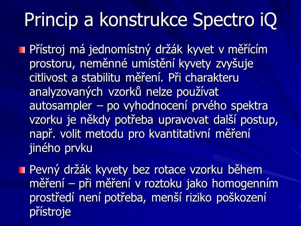 Princip a konstrukce Spectro iQ Přístroj má jednomístný držák kyvet v měřícím prostoru, neměnné umístění kyvety zvyšuje citlivost a stabilitu měření.