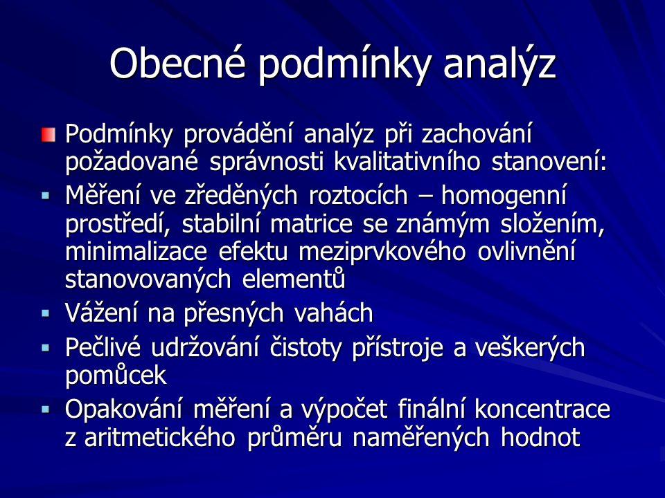Obecné podmínky analýz Podmínky provádění analýz při zachování požadované správnosti kvalitativního stanovení:  Měření ve zředěných roztocích – homog