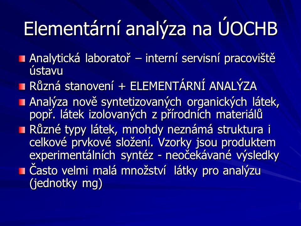 Elementární analýza na ÚOCHB Analytická laboratoř – interní servisní pracoviště ústavu Různá stanovení + ELEMENTÁRNÍ ANALÝZA Analýza nově syntetizovan