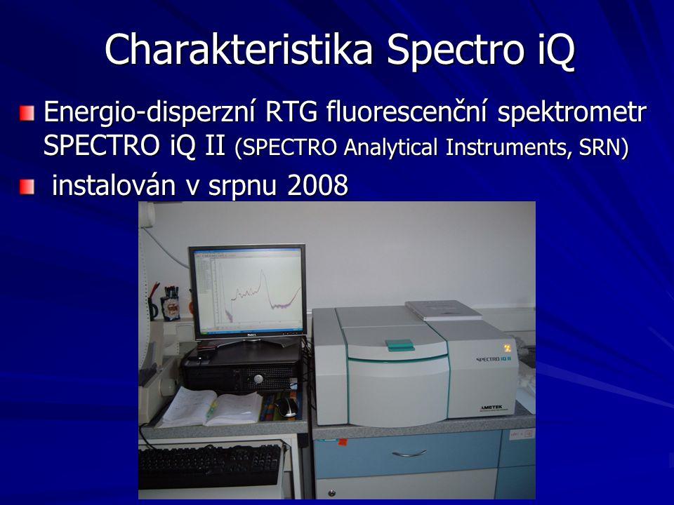 Charakteristika Spectro iQ Energio-disperzní RTG fluorescenční spektrometr SPECTRO iQ II (SPECTRO Analytical Instruments, SRN) instalován v srpnu 2008