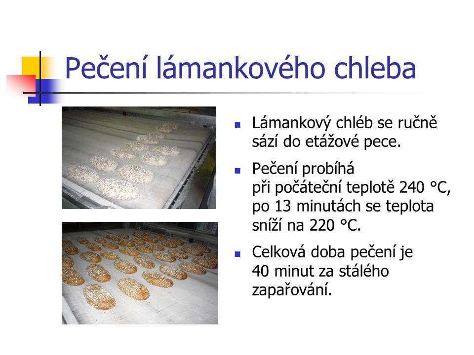 Pečení lámankového chleba Lámankový chléb se ručně sází do etážové pece. Pečení probíhá při počáteční teplotě 240 °C, po 13 minutách se teplota sníží