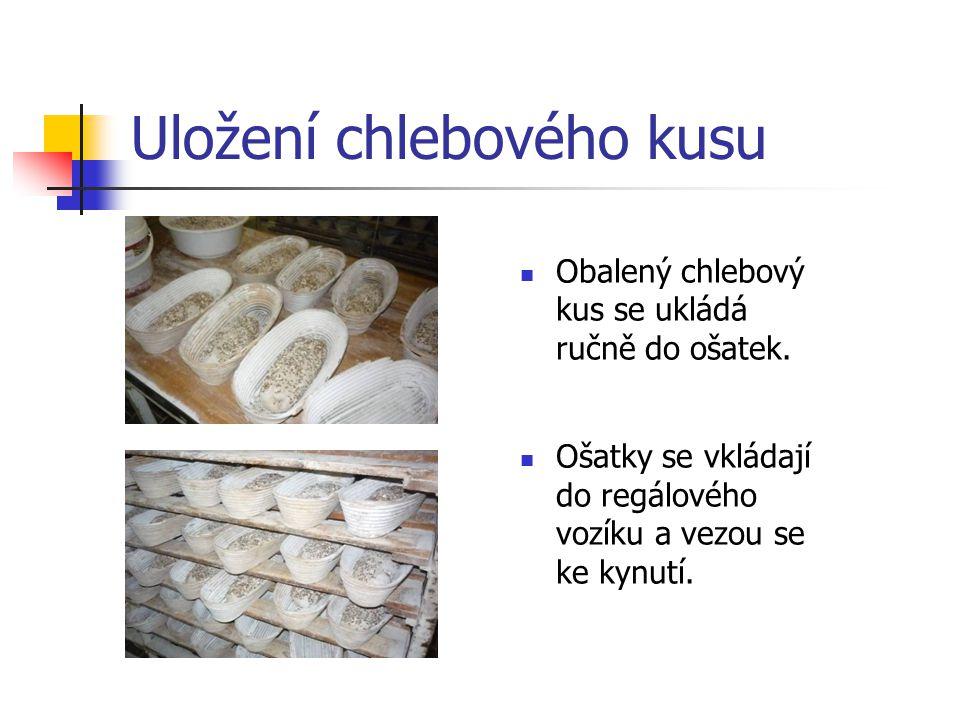 Uložení chlebového kusu Obalený chlebový kus se ukládá ručně do ošatek. Ošatky se vkládají do regálového vozíku a vezou se ke kynutí.
