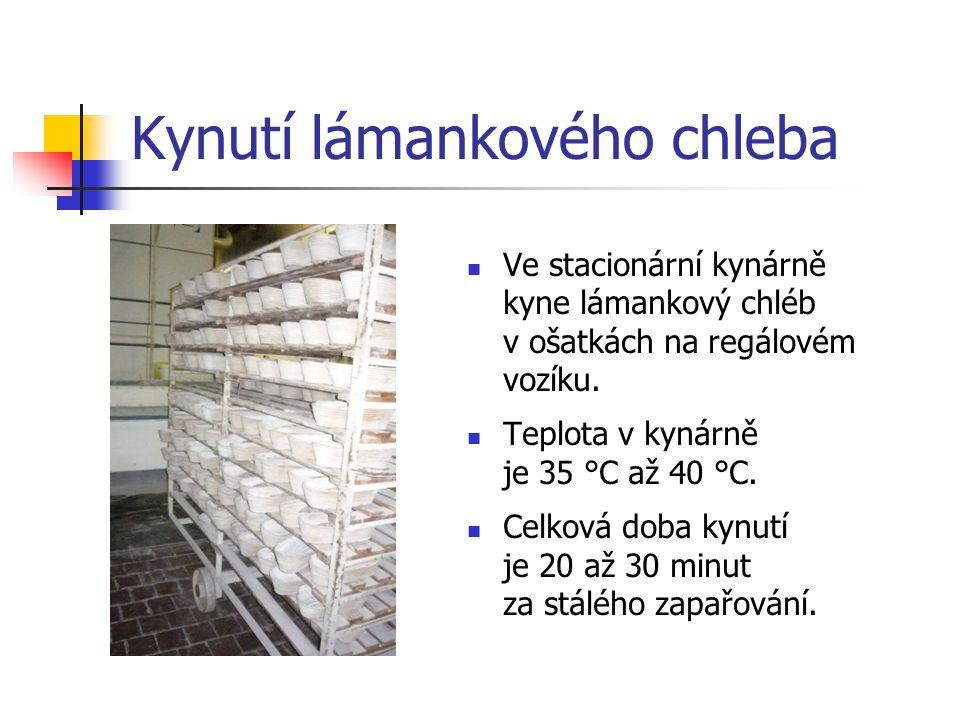 Kynutí lámankového chleba Ve stacionární kynárně kyne lámankový chléb v ošatkách na regálovém vozíku. Teplota v kynárně je 35 °C až 40 °C. Celková dob