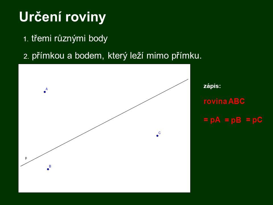Určení roviny 1. třemi různými body 2. přímkou a bodem, který leží mimo přímku. zápis: rovina ABC = pA = pC = pB