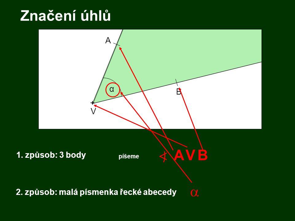 1. způsob: 3 body + V A B A 2. způsob: malá písmenka řecké abecedy α Značení úhlů BV píšeme  