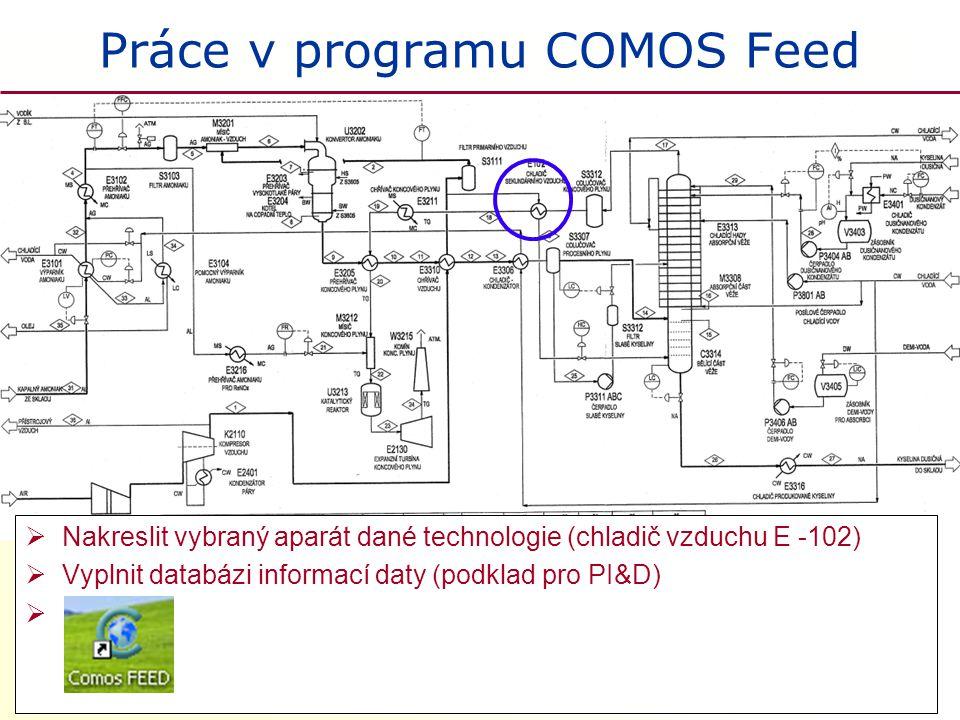 Práce v programu COMOS Feed  Nakreslit vybraný aparát dané technologie (chladič vzduchu E -102)  Vyplnit databázi informací daty (podklad pro PI&D)
