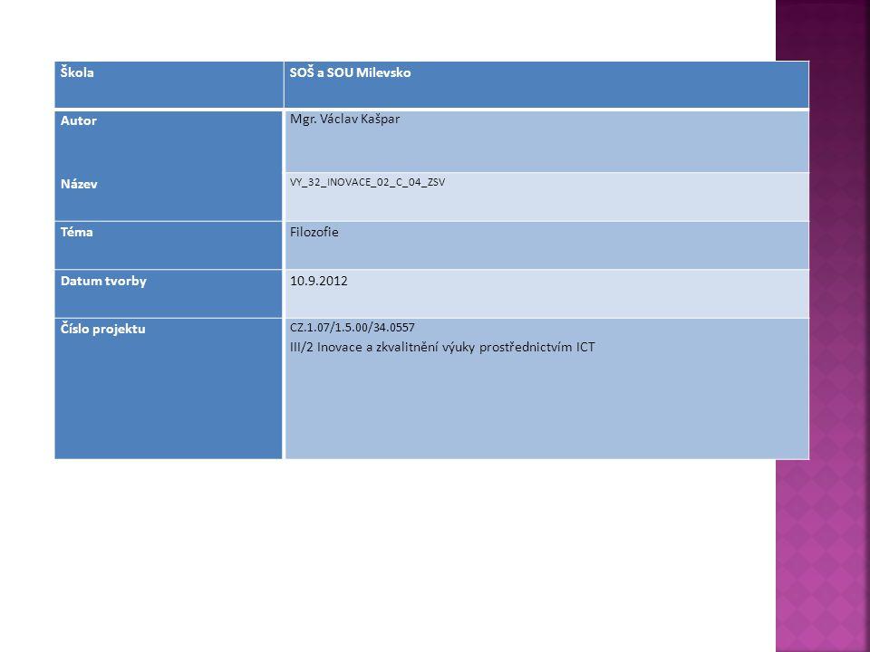 ŠkolaSOŠ a SOU Milevsko Autor Mgr. Václav Kašpar Název VY_32_INOVACE_02_C_04_ZSV TémaFilozofie Datum tvorby10.9.2012 Číslo projektu CZ.1.07/1.5.00/34.
