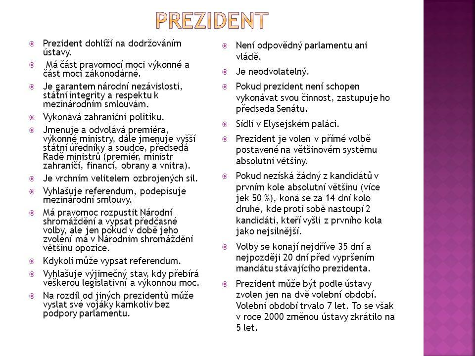  Prezident dohlíží na dodržováním ústavy.  Má část pravomocí moci výkonné a část moci zákonodárné.  Je garantem národní nezávislosti, státní integr