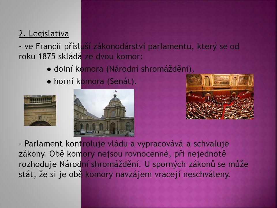 2. Legislativa - ve Francii přísluší zákonodárství parlamentu, který se od roku 1875 skládá ze dvou komor: ● dolní komora (Národní shromáždění), ● hor