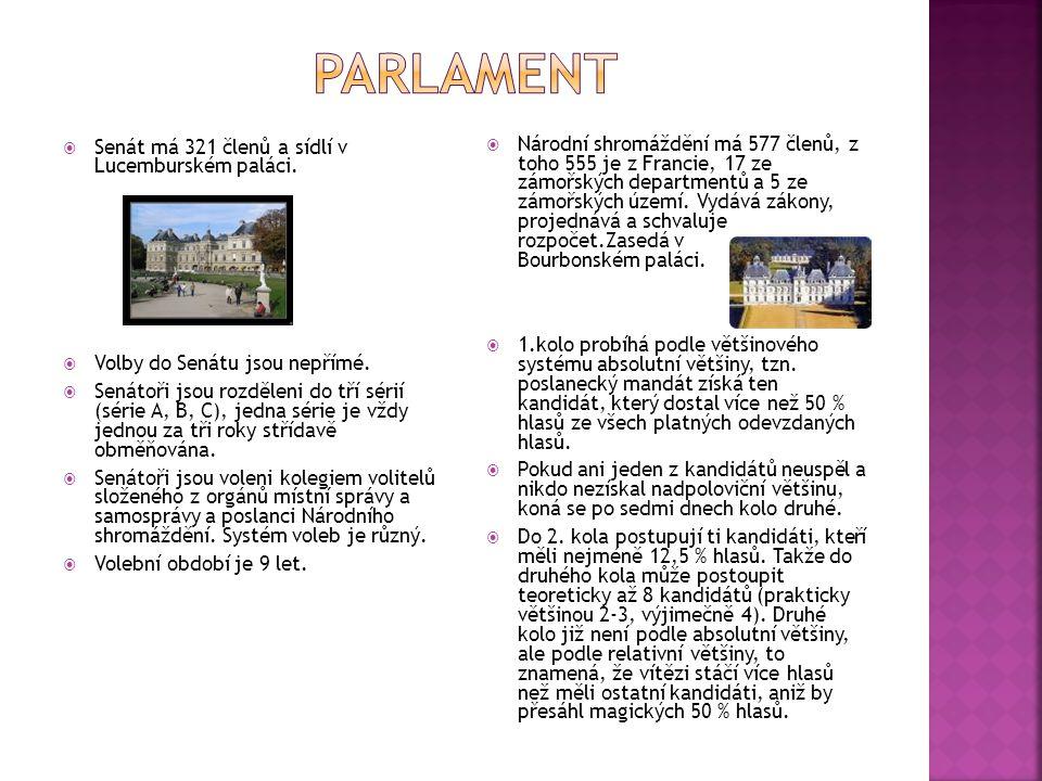  Senát má 321 členů a sídlí v Lucemburském paláci.  Volby do Senátu jsou nepřímé.  Senátoři jsou rozděleni do tří sérií (série A, B, C), jedna séri