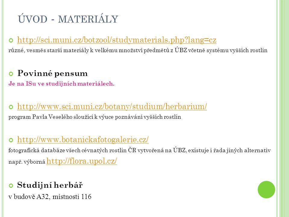 ÚVOD - MATERIÁLY http://sci.muni.cz/botzool/studymaterials.php?lang=cz různé, vesměs starší materiály k velkému množství předmětů z ÚBZ včetně systému