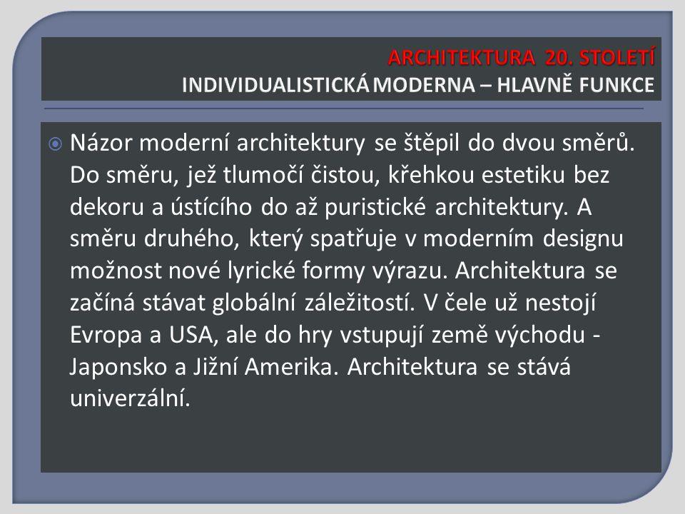  Názor moderní architektury se štěpil do dvou směrů.