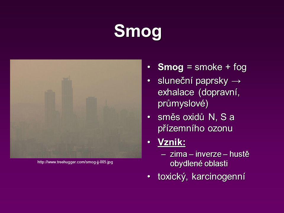 Smog = smoke + fogSmog = smoke + fog sluneční paprsky → exhalace (dopravní, průmyslové)sluneční paprsky → exhalace (dopravní, průmyslové) směs oxidů N