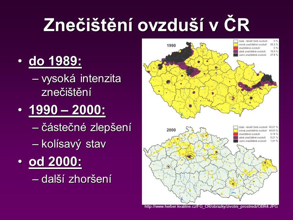 Znečištění ovzduší v ČR do 1989:do 1989: –vysoká intenzita znečištění 1990 – 2000:1990 – 2000: –částečné zlepšení –kolísavý stav od 2000:od 2000: –další zhoršení http://www.herber.kvalitne.cz/FG_CR/obrazky/zivotni_prostredi/OBR4.JPG