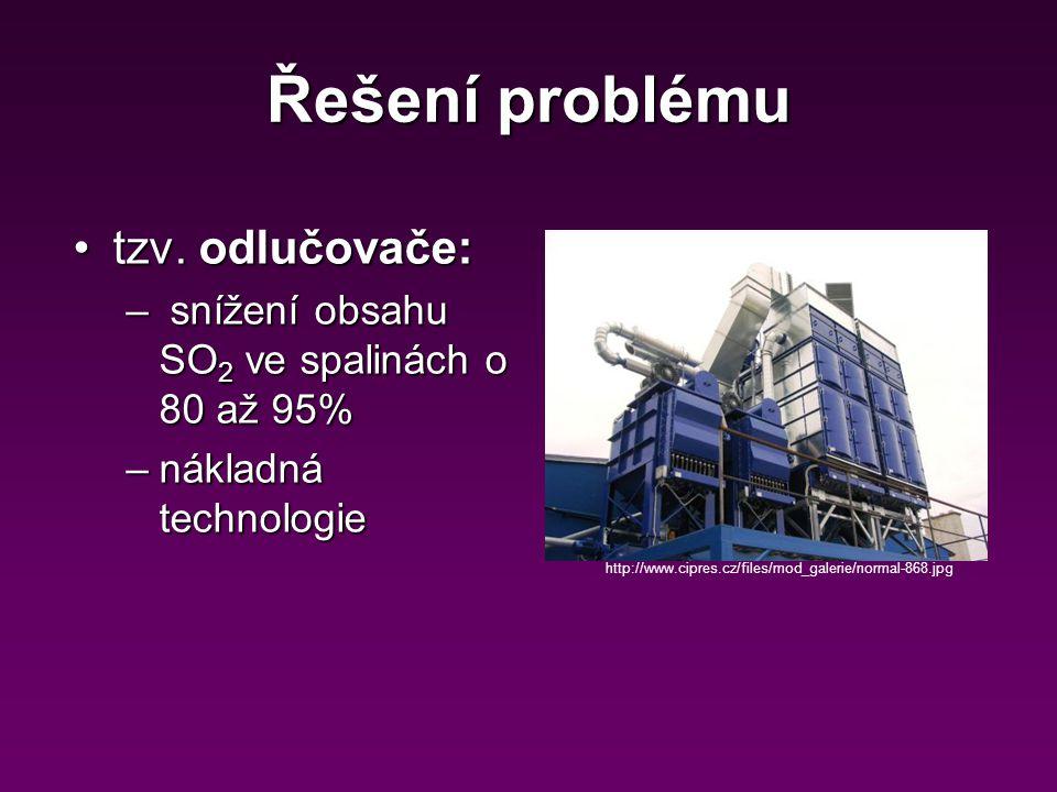Řešení problému tzv. odlučovače:tzv. odlučovače: – snížení obsahu SO 2 ve spalinách o 80 až 95% –nákladná technologie http://www.cipres.cz/files/mod_g