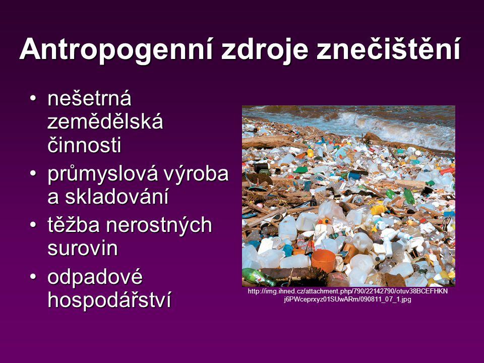 Antropogenní zdroje znečištění nešetrná zemědělská činnostinešetrná zemědělská činnosti průmyslová výroba a skladováníprůmyslová výroba a skladování těžba nerostných surovintěžba nerostných surovin odpadové hospodářstvíodpadové hospodářství http://img.ihned.cz/attachment.php/790/22142790/otuv38BCEFHKN j6PWceprxyz01SUwARm/090811_07_1.jpg