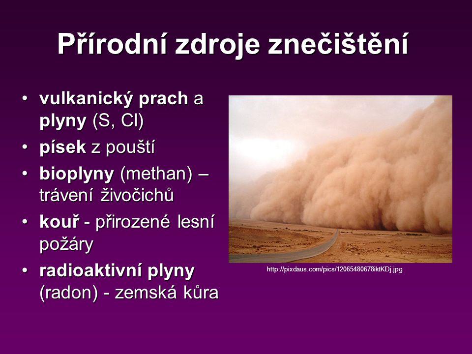 Antropogenní zdroje znečištění Proces spalování: Stacionární zdroje (tepelné elektrárny, průmyslové podniky)Stacionární zdroje (tepelné elektrárny, průmyslové podniky) Mobilní zdrojeMobilní zdroje (dopravní prostředky) (dopravní prostředky) http://scipeeps.com/wp-content/uploads/2009/07/air-car-pollution.jpg Paliva: Ropa (nafta a benzín)Ropa (nafta a benzín) UhlíUhlí DřevoDřevo