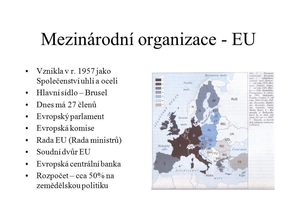 Mezinárodní organizace - EU Vznikla v r. 1957 jako Společenství uhlí a oceli Hlavní sídlo – Brusel Dnes má 27 členů Evropský parlament Evropská komise