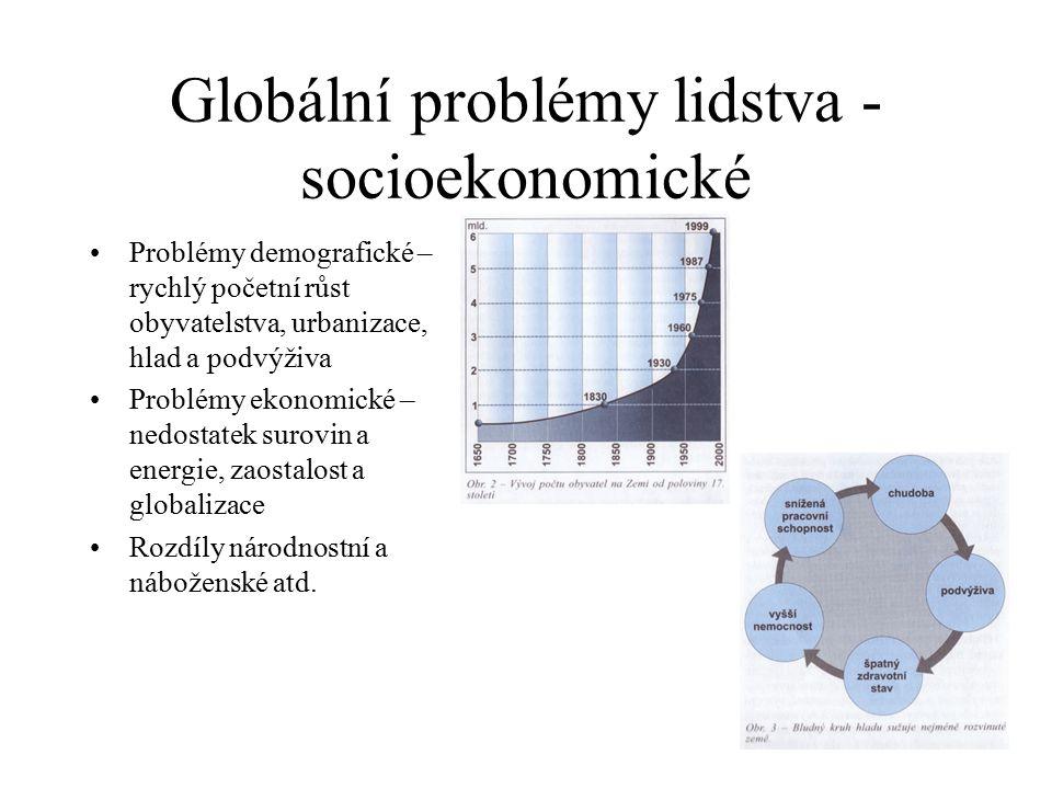 Globální problémy lidstva - socioekonomické Problémy demografické – rychlý početní růst obyvatelstva, urbanizace, hlad a podvýživa Problémy ekonomické