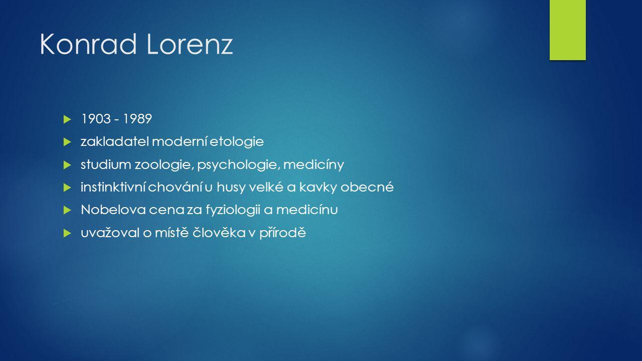 Konrad Lorenz  1903 - 1989  zakladatel moderní etologie  studium zoologie, psychologie, medicíny  instinktivní chování u husy velké a kavky obecné
