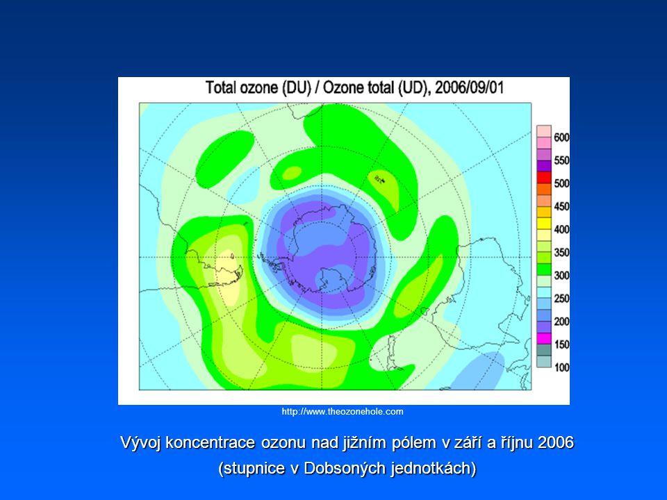 http://www.theozonehole.com Vývoj koncentrace ozonu nad jižním pólem v září a říjnu 2006 (stupnice v Dobsoných jednotkách)