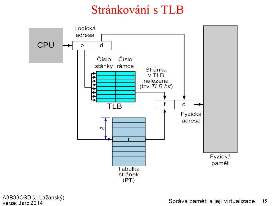 A3B33OSD (J. Lažanský) verze: Jaro 2014 Správa paměti a její virtualizace 15 Stránkování s TLB