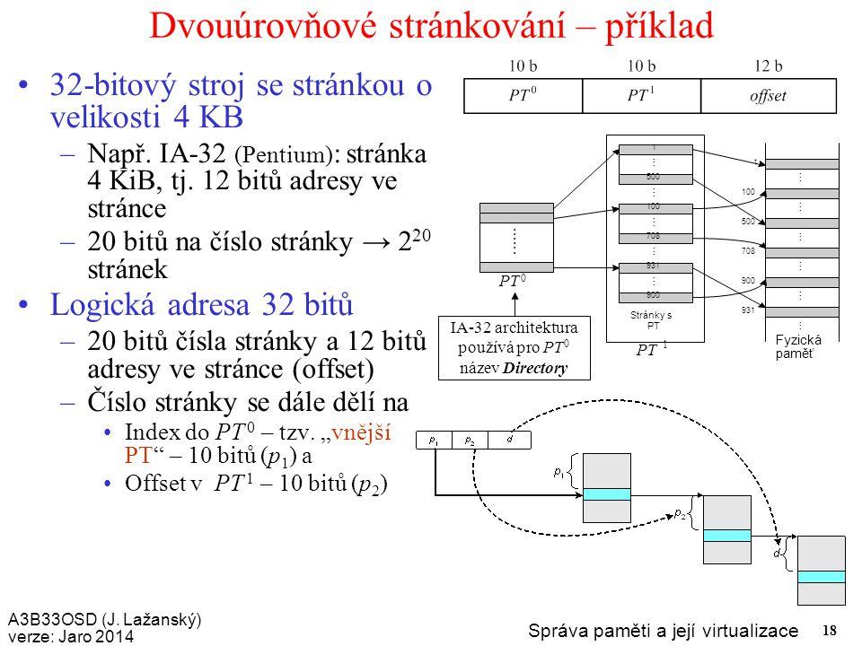 A3B33OSD (J. Lažanský) verze: Jaro 2014 Správa paměti a její virtualizace 18 Dvouúrovňové stránkování – příklad 32-bitový stroj se stránkou o velikost