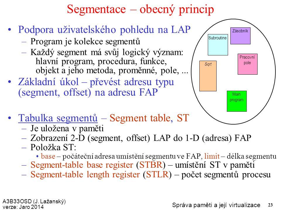 A3B33OSD (J. Lažanský) verze: Jaro 2014 Správa paměti a její virtualizace 23 Segmentace – obecný princip Podpora uživatelského pohledu na LAP –Program