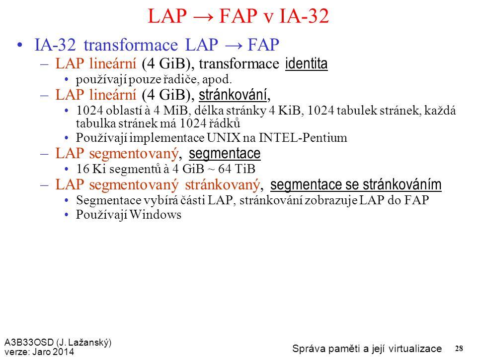 A3B33OSD (J. Lažanský) verze: Jaro 2014 Správa paměti a její virtualizace 28 LAP → FAP v IA-32 IA-32 transformace LAP → FAP –LAP lineární (4 GiB), tra