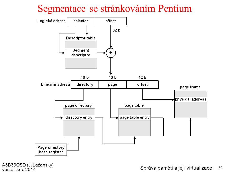 A3B33OSD (J. Lažanský) verze: Jaro 2014 Správa paměti a její virtualizace 30 Segmentace se stránkováním Pentium