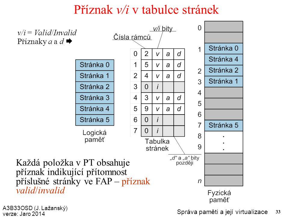A3B33OSD (J. Lažanský) verze: Jaro 2014 Správa paměti a její virtualizace 33 Příznak v/i v tabulce stránek Každá položka v PT obsahuje příznak indikuj
