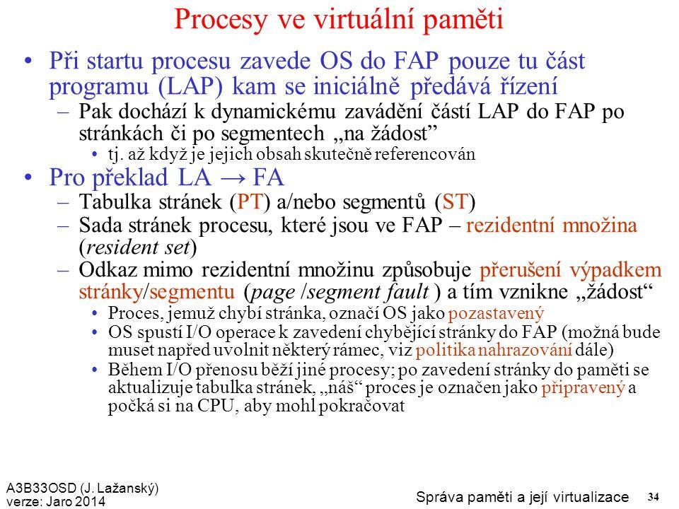 A3B33OSD (J. Lažanský) verze: Jaro 2014 Správa paměti a její virtualizace 34 Procesy ve virtuální paměti Při startu procesu zavede OS do FAP pouze tu