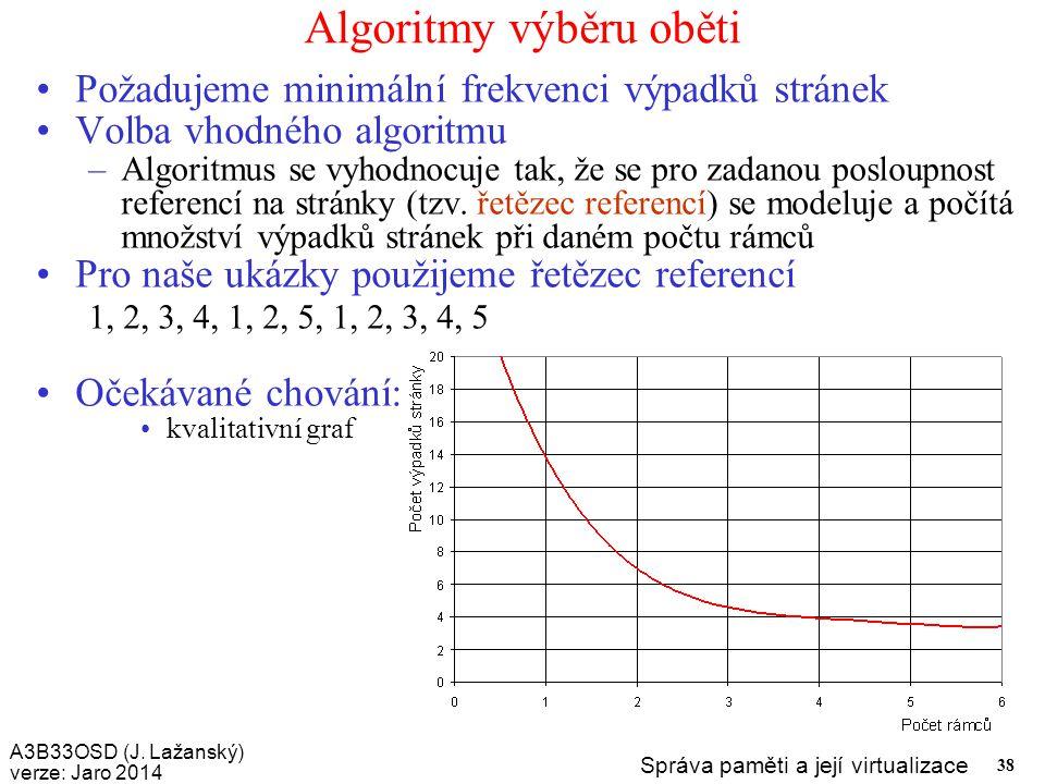 A3B33OSD (J. Lažanský) verze: Jaro 2014 Správa paměti a její virtualizace 38 Algoritmy výběru oběti Požadujeme minimální frekvenci výpadků stránek Vol