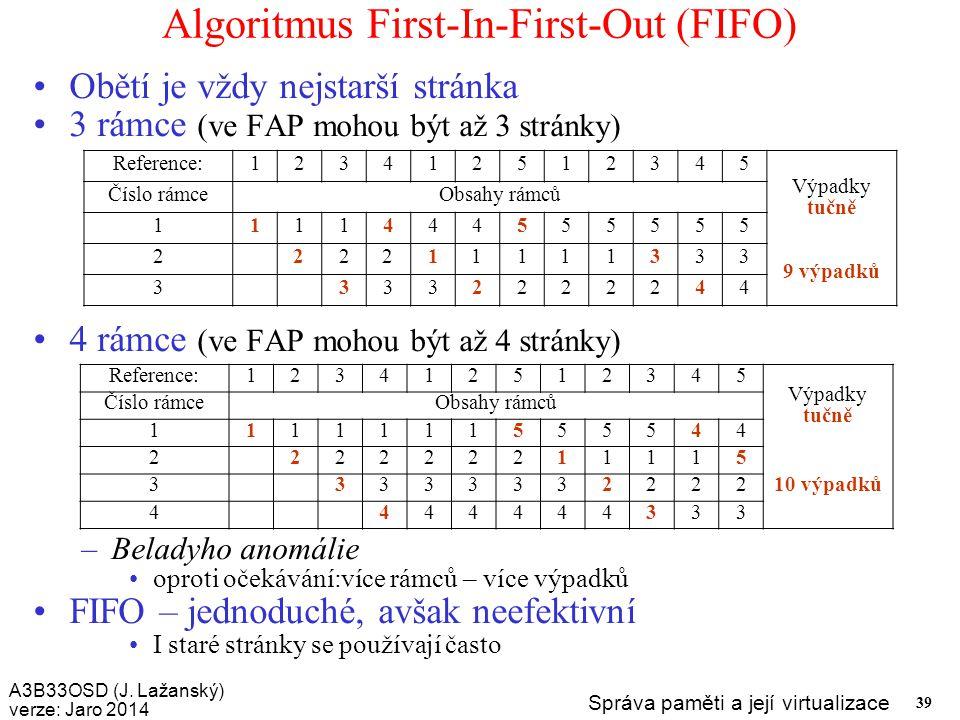 A3B33OSD (J. Lažanský) verze: Jaro 2014 Správa paměti a její virtualizace 39 Algoritmus First-In-First-Out (FIFO) Obětí je vždy nejstarší stránka 3 rá