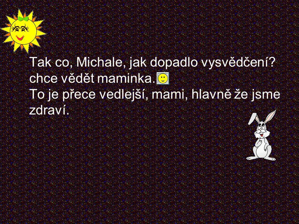 Tak co, Michale, jak dopadlo vysvědčení.chce vědět maminka.
