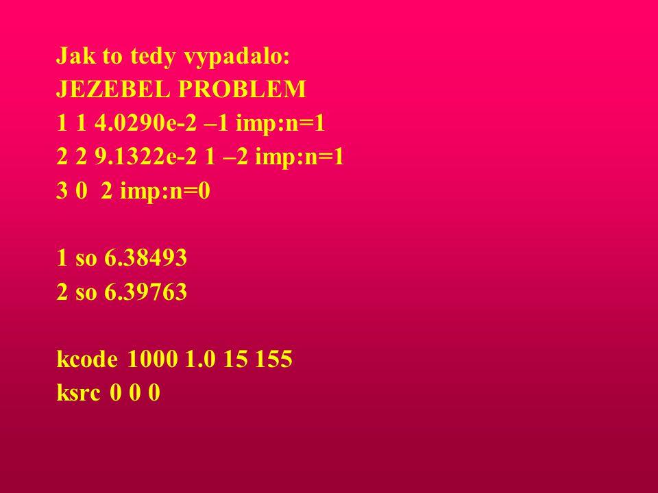 Jak to tedy vypadalo: JEZEBEL PROBLEM 1 1 4.0290e-2 –1 imp:n=1 2 2 9.1322e-2 1 –2 imp:n=1 3 0 2 imp:n=0 1 so 6.38493 2 so 6.39763 kcode 1000 1.0 15 15