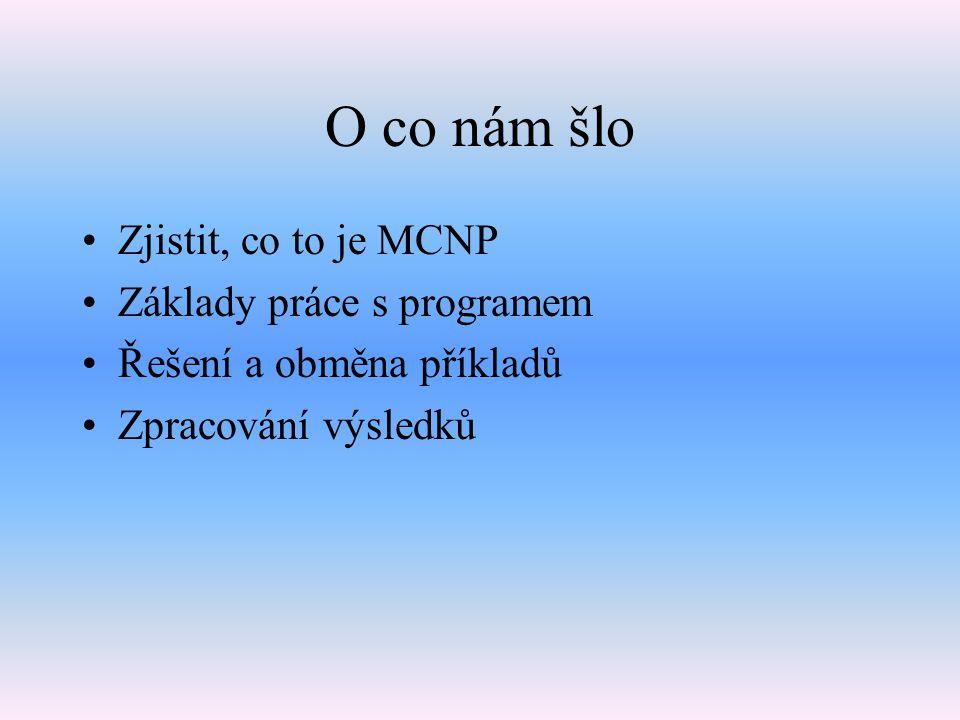 Co je MCNP Výpočet transportu částic (neutronů) -> statistická metoda Monte Carlo Kód – 3D Výpočet kritičnosti, hustoty toku neutronů, stínění, mikrokonstanty,… Los Alamos (USA)