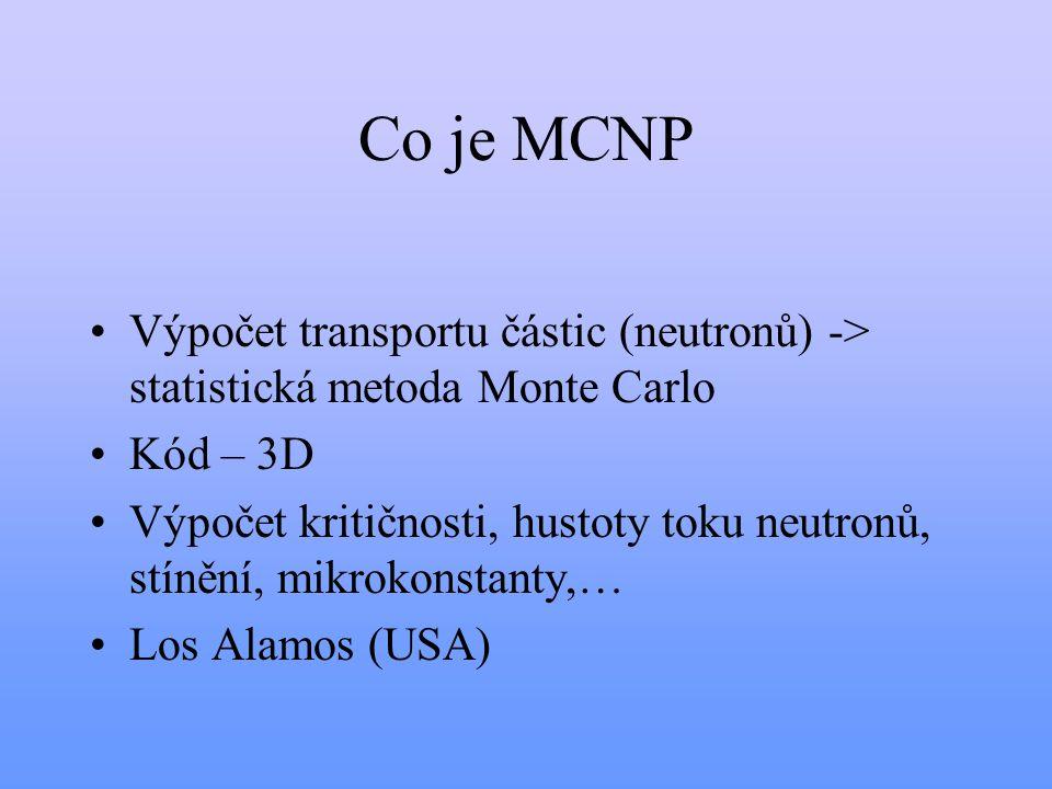 Co je MCNP Výpočet transportu částic (neutronů) -> statistická metoda Monte Carlo Kód – 3D Výpočet kritičnosti, hustoty toku neutronů, stínění, mikrok
