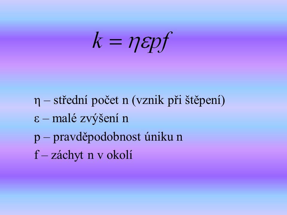 η – střední počet n (vznik při štěpení) ε – malé zvýšení n p – pravděpodobnost úniku n f – záchyt n v okolí