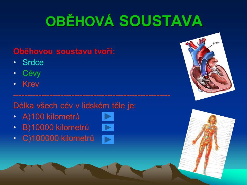 OBĚHOVÁ SOUSTAVA Oběhovou soustavu tvoří: Srdce Cévy Krev --------------------------------------------------------- Délka všech cév v lidském těle je: